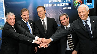 FIBA Europe President Olafur Rafnsson, FIBA Europe Secretary General Nar Zanolin, the Slovenian Minister of Sports Dr. Igor Luksic, Slovenian Basketball Federation President Roman Volcic and Slovenian Basketball Federation Secretary General Iztok Rems